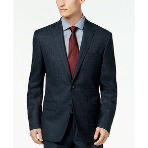 DKNY Slim Fit Blue Tan Windowpane Suit Jacket